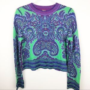Free People - New age crop paisley sweater size: M